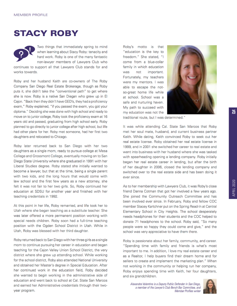 Stacy Roby Featured in the Lawyers Club of San Diego Newsletter